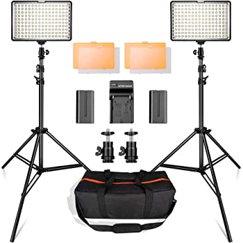 Professional LED Video Light Panel with Barn Doors 40W 4500LM Dimmable Continuous Output Lighting Studio 48CH 6 Groups 2.4GHz CRI 95 1-100/% Brightness 5600K Color Filter