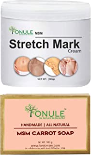 Ionule MSM Stretch Mark Cream with Carrot Soap for Men and Women Combo Pack of 2 - (2 X 90 gm)