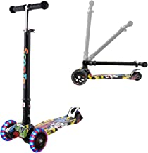 Hikole Scooter for Kids, Kick Scooter with 3 Wheel Scooter for Toddlers Girls & Boys, Foldable Scooter 3 Adjustable Height, Safe Lean to Steer with PU Flashing Wheels for Children from 3-12 Age