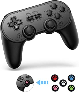SN30 Pro+ Wireless Controller (Black Edition) with10 Pieces Thumb Grips Caps Covers for Nintendo Switch Turbo Vibration Gamepads with Windows Android MacOS Steam Raspberry Pi