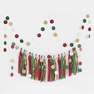 zeman Red Green God Tassel Garland with 50pcs Dots Garlands Merry Christmas Party Decor Xmas Santa Holiday Wedding Baby Shower Frozen Winter Party Decorations