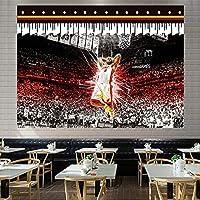 スーパーバスケットボールスタージェームズダンクタペストリー、リビングルームの寝室の装飾パーティーバナーのための柔らかいタペストリー White 1