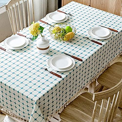 Family Life Equipment Mantel de mesa de comedor de estilo nórdico Mantel de mesa de centro de simplicidad moderna Mantel de algodón y lino Pequeño mantel de rectángulo rojo fresco neto (color: azul