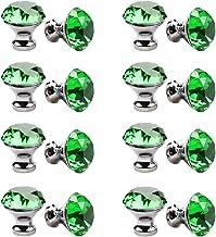 30mm kristallen handvat, meerkleurige kristallen knop 16PCS, meubelladeknop, garderobedeur enkel gat handvat-groen
