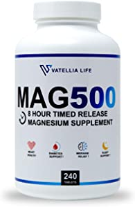 Vatellia Life's MAG500 High Absorption Sustained Release Magnesium 500 mg, 60 Day Supply, 240 Time Release Tablets, Headaches, Sleep, Energy, Leg Cramps