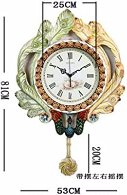 Imoerjia Peacock Wall Clock Creative Continental Deluxe Art Deco Swing Mute Clock Living Room Dining Room