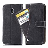 Galaxy J7 Star/J7 Crown/S767VL/J7V 2nd Gen/J7 Aura/J737/J7 Refine/J7 Top/J7 2018 Wallet Case,PU Leather Phone Cases with Credit Card Holder Stand Flip Folio Protective Cover for Samsung J7 2018 Black