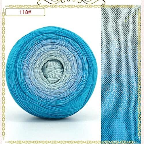 AUBERSIT 200-250G / 800-1000M Hilo de algodón Mercerizado segmento arcoíris Hilo teñido 6 hebras...