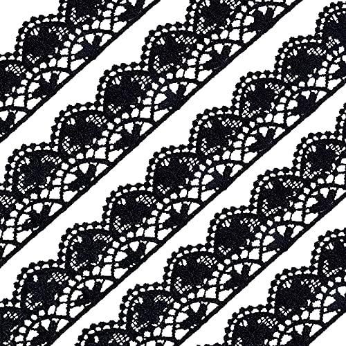 FINGERINSPIRE, 20 Yardas, 25 mm de Ancho, de poliéster, Encaje, Cinta de Encaje Vintage, Borde Festoneado de Encaje de Ganchillo, para decoración de Bodas Nupciales (Negro)
