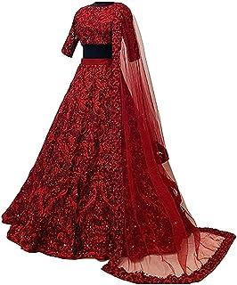 فستان Lehenga Choli للسيدات من الحرير الخام الأحمر