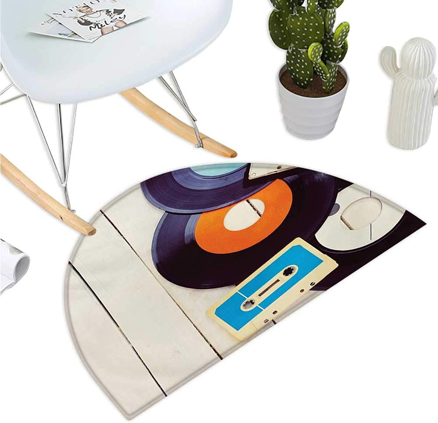 Indie Semicircle Doormat Gramophone Records and Old Audio Cassettes on Wooden Table Nostalgia Music Entry Door Mat H 43.3  xD 64.9  bluee orange Black