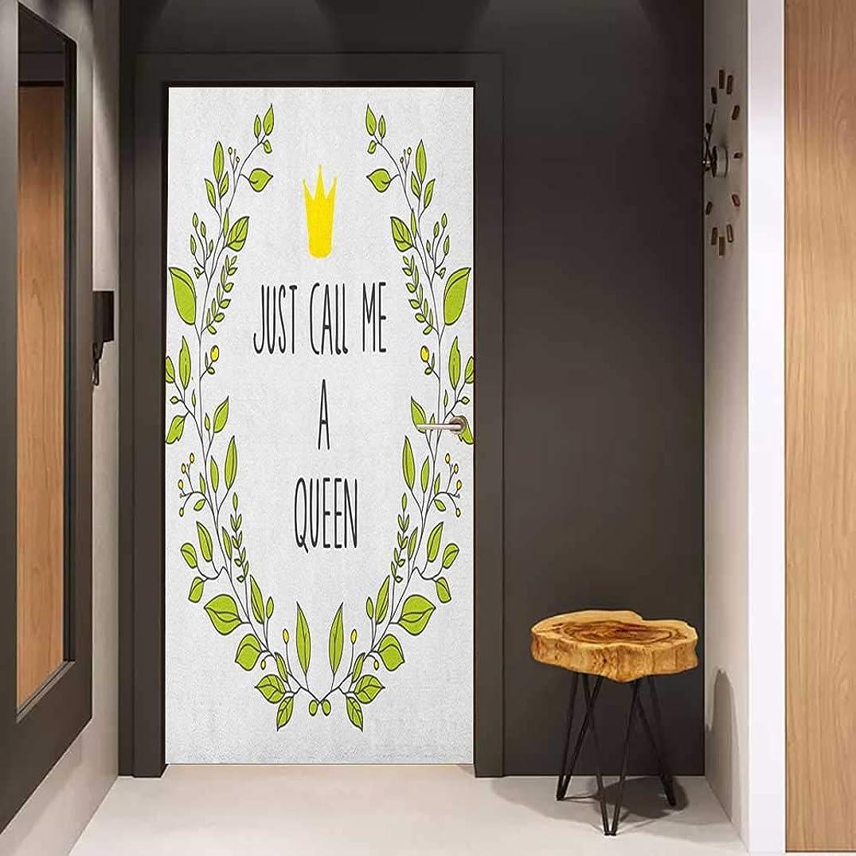Onefzc Sticker for Door Decoration Queen Wreath Branches with Lettering Just Call Me Queen Little Crown Door Mural Free Sticker W35.4 x H78.7 Yellow Apple Green Charcoal Grey