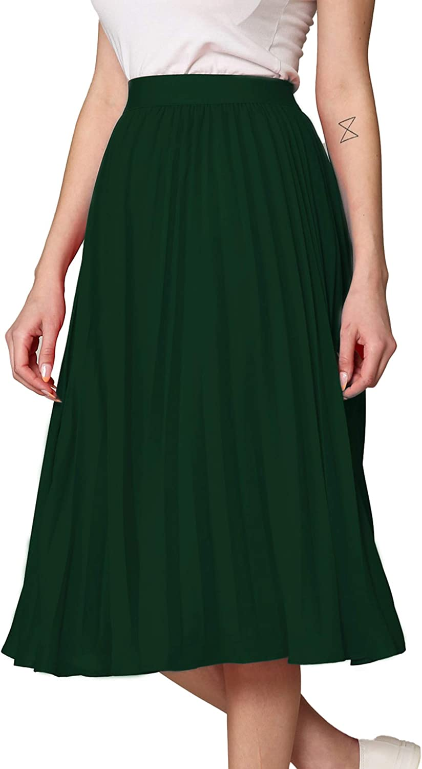Made By Johnny Women's High Elastic Waist Pleated Mid A-Line Swing Skirt