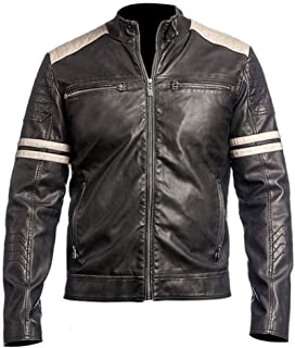 Cafe Racer Vintage Retro Motorcycle Biker Style Genuine Leather Jacket Motorbike with Stripes on Sleeves