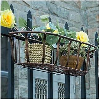 YYFANG Etagère À Fleurs Suspension Art De Fer Balcon Balustrade Pot De Fleurs Plusieurs Casier À Viande Antirouille, 3 Cou...
