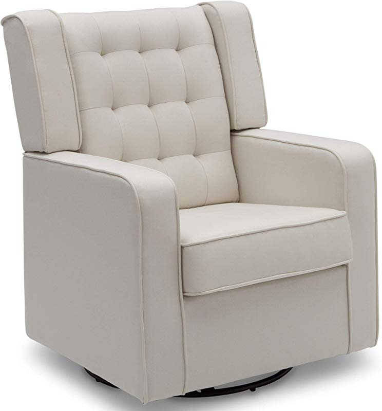 Delta Children Milan Upholstered Glider Swivel Rocker Chair Cream