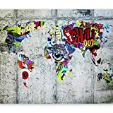 murando - Fototapete Weltkarte 400x280 cm - Vlies Tapete - Moderne Wanddeko - Design Tapete - Wandtapete - Wand Dekoration - Graffiti k-A-0030-a-b