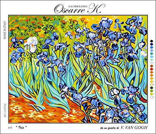 Oscarre K. gobelins Krainer Kit para Bordar Cañamazo Estampado para Medio Punto Los Lirios de Van Gogh 48x62 Cod K73