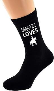 PERSONALISED NAME Loves Horse Riding Image printed Mens Black Cotton Socks