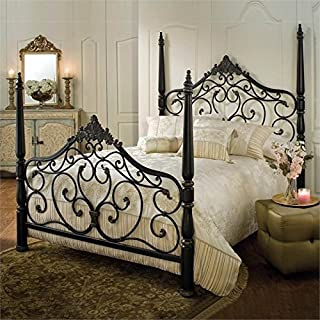 Bowery Hill King Metal Poster Bed in Black Gold