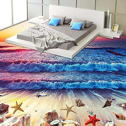 Azulejos de suelo 3D personalizados, papel tapiz mural, colorido, puesta de sol, playa, mar, olas, suelo, papel de pared, dormitorio, vinilo de PVC-150x105cm