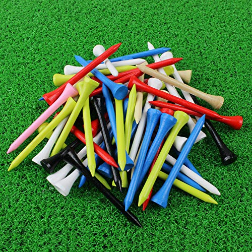 MYKUJA Bambus-Golftees, 6,4 cm, mehrfarbig, 100 Stück
