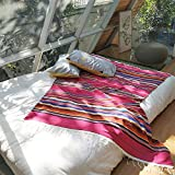 Zdada Mexican-Yoga-Blanket-Falsa-Serape-Blanket Tassel,Hand Woven Mexican Blankets Outdoor Picnic Tablecloth-59x84inch