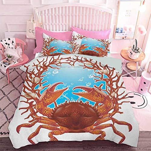 Hiiiman Juego de cama de 3 piezas, diseño de cangrejo, espiral, conchas marinas y armazón de coral rojo, garras de acuario Naturaleza (3 piezas, tamaño King) sin inserto