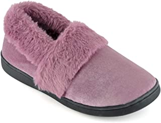 DINZIO Ladies Polysuede Full Slipper with Faux Fur Cuff Women Fuzzy House Slippers Indoor/Outdoor Non Skid Casual Memory F...