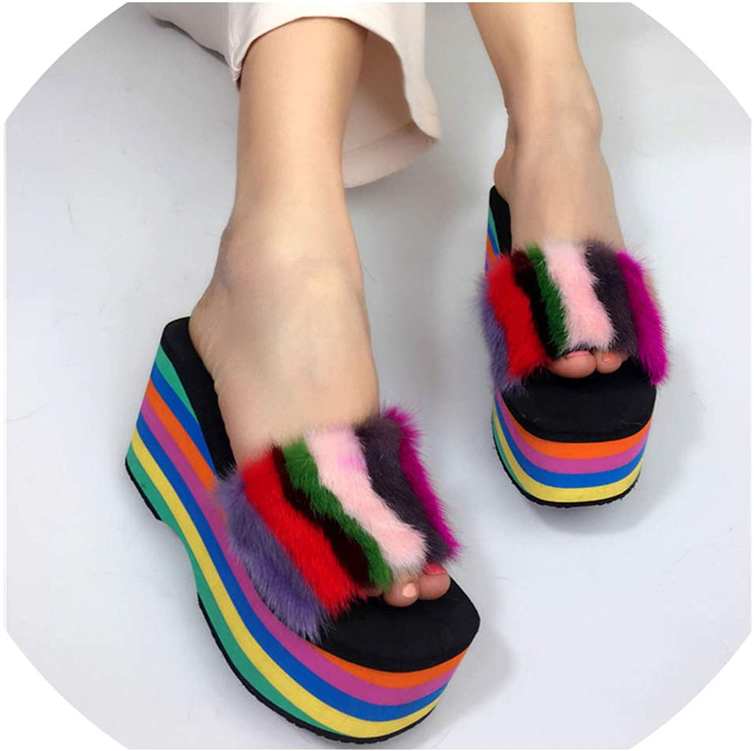 Sunshine-Family Sexy Multi Striped Mink Fur Slipper Platform Sole Ladies Peep Toe Slides Beach shoes
