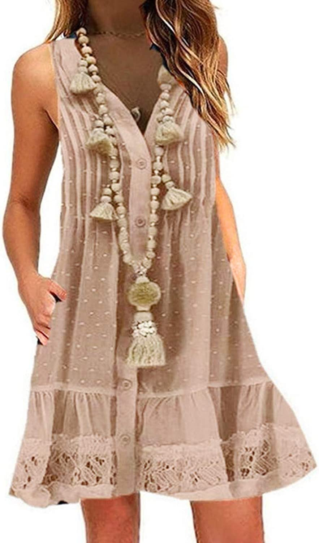 Women's Vest Sleeveless Dress Casual Print O-Neck Short Mini Dress Loose Nightdress Tank T-Shirt Dress with Pocket