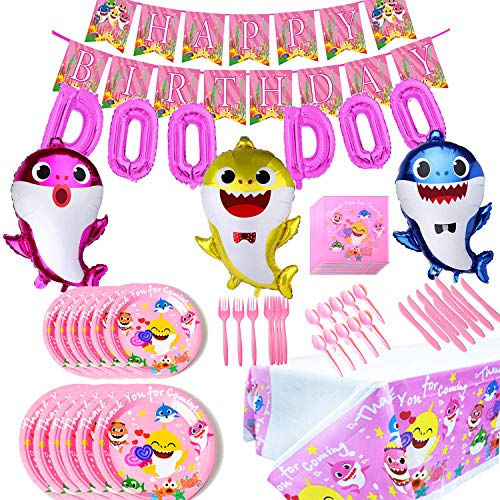 Baby Cute Shark Party Supplies Birthday Decorations Set, Pink for Girls Baby Shark DOO DOO Balloons Happy Birthday Banner Cake Topper Baby Cute Shark Party Décor
