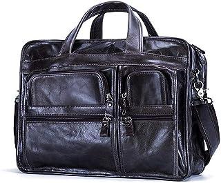 """Djyyh Vintage Men Genuine Leather Briefcase, 15.6"""" Laptop Handbag Cow,3 Layers Business Messenger Bag Shoulder Bags (Color : Gray)"""