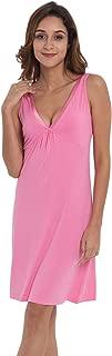 Womens Bamboo Sleep Shirt Sleeveless Nightgowns Satin V Neck Sleepwear