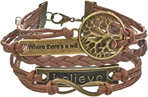 Loweryeah Bronze Life Tree Where Infinite Believe Retro Pu Leather Rope Hand Chain