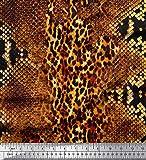 Soimoi Orange Heavy Canvas Stoff Leopard & Snake Animal