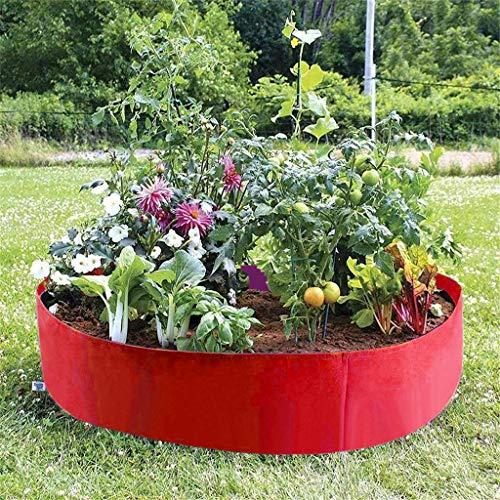 TinaDeer Rund Pflanzsack aus Atmungsaktiver Filzstoff, Erhöhtes Pflanzenbeet, Garten Balkon Pflanztasche Gemüse Anzucht Tomate Kräuter Pflanzbeute, Rot (D)