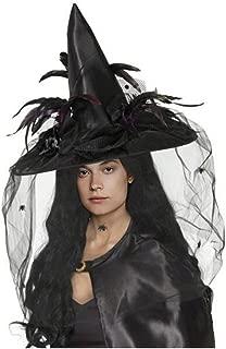 CA Mode Women Witch Hat Wizard Cap Headwear Spider Feather Halloween Costume