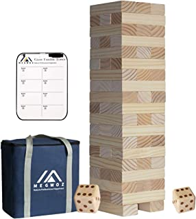 Megwoz Giant Tumble Tower, Premium Pine Wooden Toppling Tower Stacking Game with 2 Dices Scoreboard  Carrying Bag, Backyard Block Game Set for Kids Adult Family- 56 Pieces (2Ft to Over 4.2Ft )