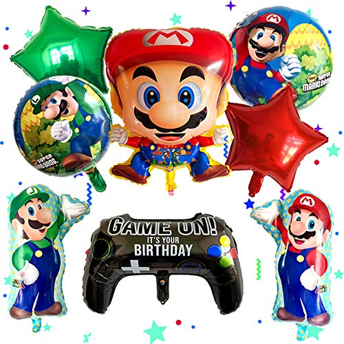 BAIBEI Globo de Super Mario Juego de fiesta de cumpleaños Globo Suministros de fiesta de cumpleaños Baby Shower Decoración para niños