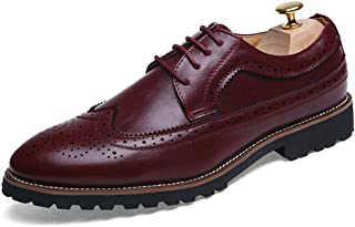 Sygjal Men's Oxfords Flat Heel Lace up Solid Color Leisure Shoes Dress Shoes (Color : Brown, Size : 44 EU)
