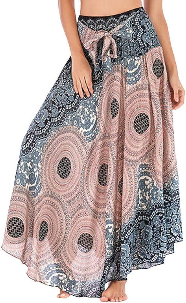 ManxiVoo Women Skirt Manxivoo Women's Bohemian Skirt Dress Boho Flowers Hem Maxi Skirt Beach Skirt