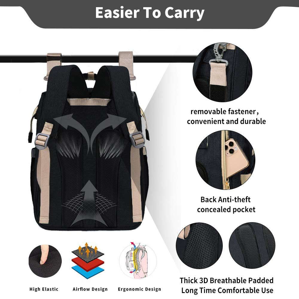 Travel Bassinet Foldable Baby Bag, ESTB Convertible Diaper Bag Backpack, Multifunction Portable Travel Crib with Changing Station, Large Capacity, Waterproof