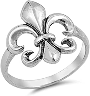 Fluer De Lis Cute Ring New .925 Sterling Silver Band Sizes 4-10