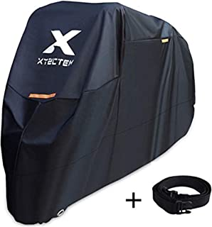 Best XYZCTEM Motorcycle Cover -Waterproof Outdoor Storage Bag,Made of Heavy Duty Material Fits up to 116 inch, Compatible with Harley Davison and All Motors(Black& Lockholes& Professional Windproof Strap) Review