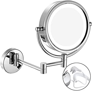 LED with Wall-Mounted Double-Sided Make-up Mirror Bathroom Folding Telescopic Beauty Mirror 3 Times Magnifying Glass HD 360 Rotating Makeup Mirror Fine Copper Material