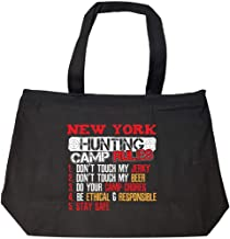 Funny New York Rules For Hunting Camp Bow Hunters That Love Beer - Fashion Zip Tote Bag