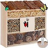 Kesser® Insektenhotel aus Holz mit Pultdach - Naturbelassenes Insekten Hotel für Fluginsekten -...