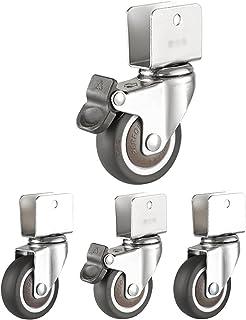 caster Wielenset van 4, rubberen transportwielen, bureaustoel Zwenkwiel, U-vormig meubelwiel, stil Caster voor wiegjes, st...