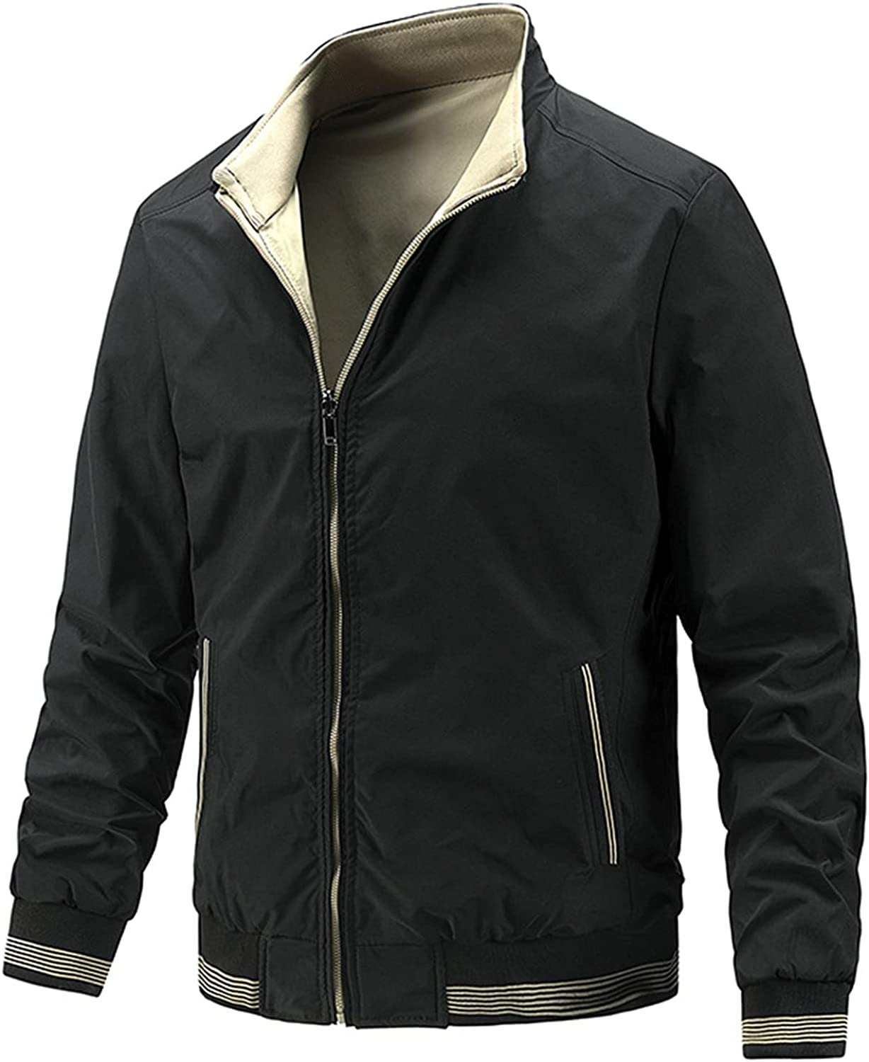 Men's Casual Jacket,Double-Sided Wear Fashionable Outerwear,Simple Business Stand Collar Coat